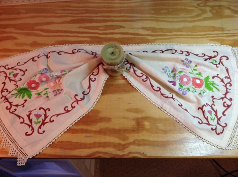 Hand embroidered table runner