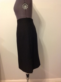 Black tropical wool pencil skirt