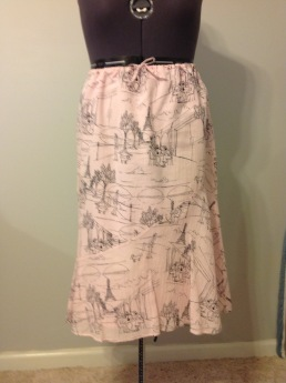 Cotton lawn skirt with bottom flounce