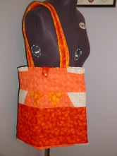 Orange quilted tote