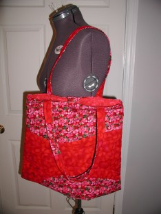 Red quilted tote