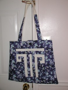 Greek key quilted tote