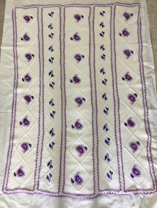 Afghan stitch and cross stitch blanket