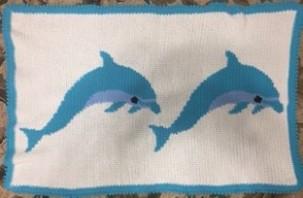 Crochet dolphins blanket