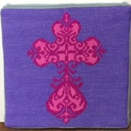 Counted cross stitch cross pillow