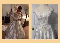 Before/After wedding gown refashioning alteration