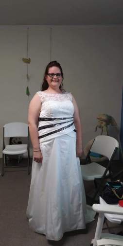 Wedding gown alteration with camouflage satin strips